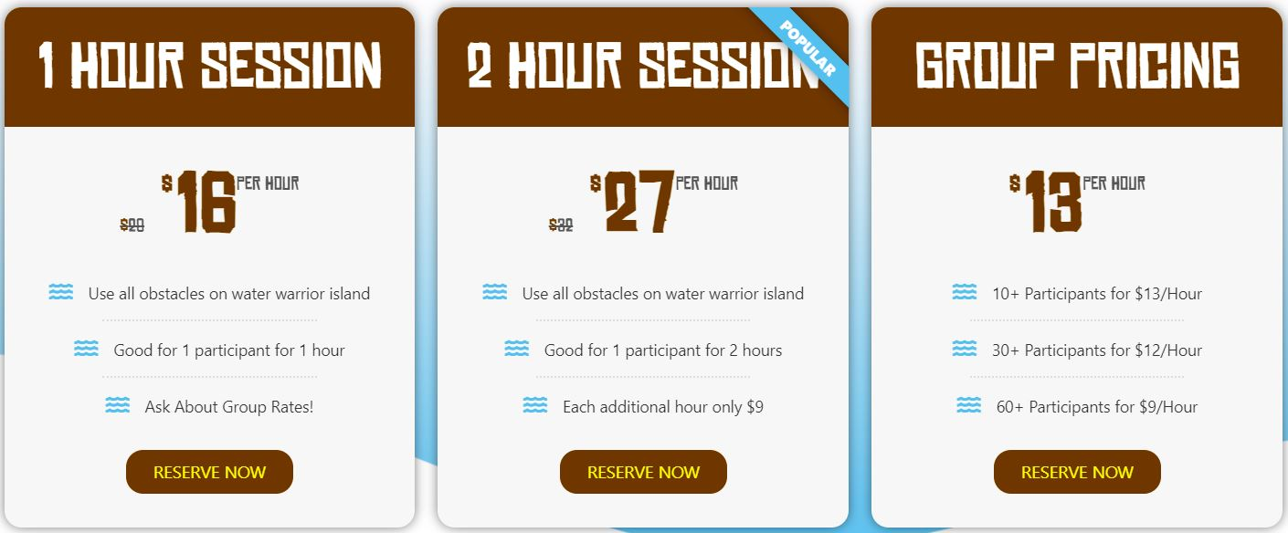 water warrior obstacle course pricing